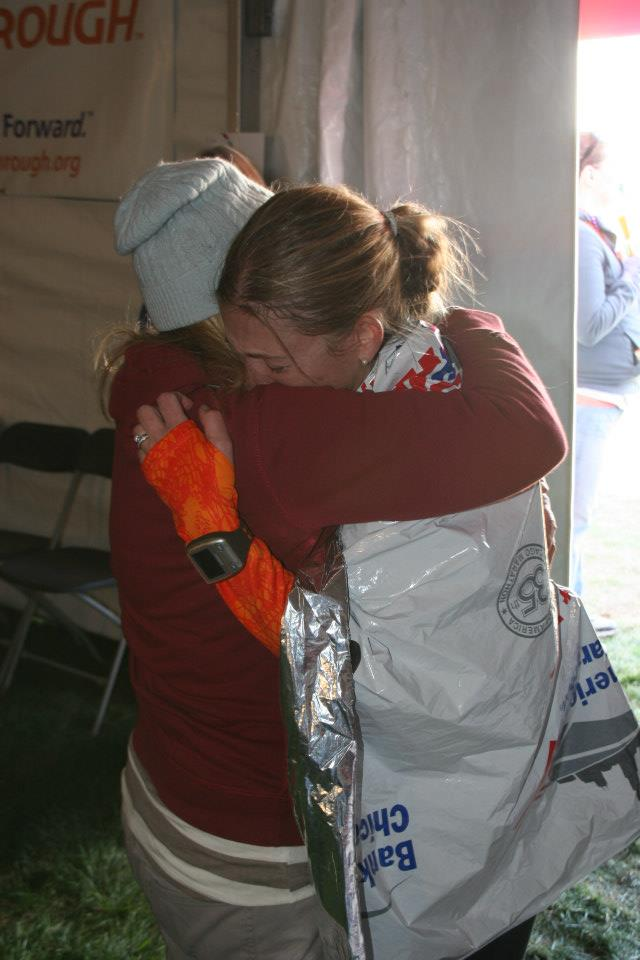 Sarah hugging mother after marathon